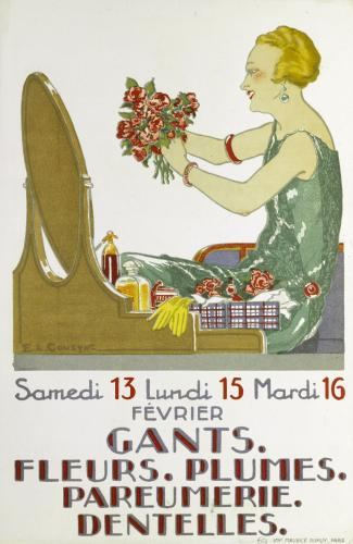 Samedi 13 Lundi 15 Mardi 16/ FEVRIER/ GANTS./ FLEURS. PLUMES./ PARFUMERIE./ DENTELLES.
